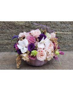 Aranjament floral in dovleac cu trandafiri