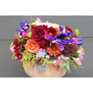 Aranjament Bostan cu flori de toamna
